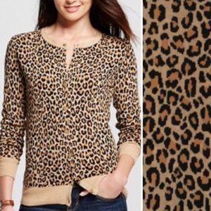 Leopard Print Long Sleeve Button Up Cardigan